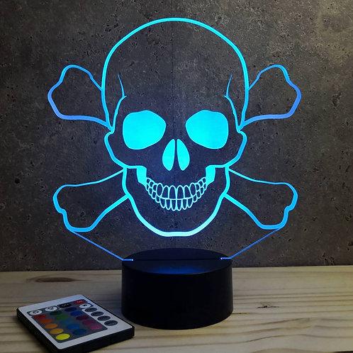 Lampe illusion 3D Tête de mort Pirate 16 couleurs & Télécommande