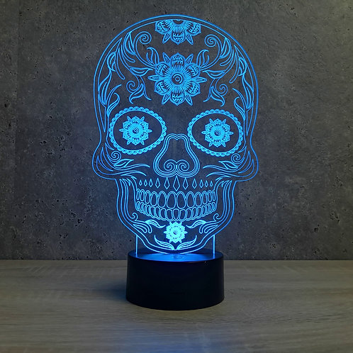 Lampe illusion 3d led Tête de mort mexicaine Calavera