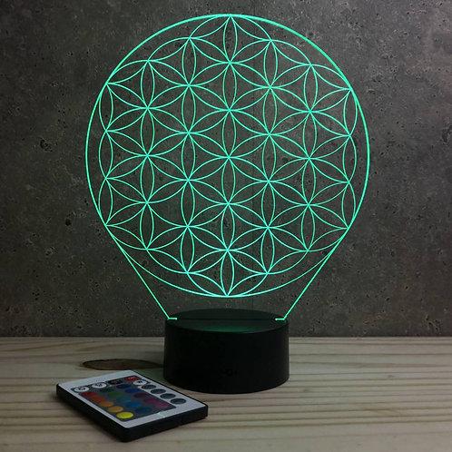 Lampe illusion 3d Fleur de vie personnalisable 16 couleurs & télécommande