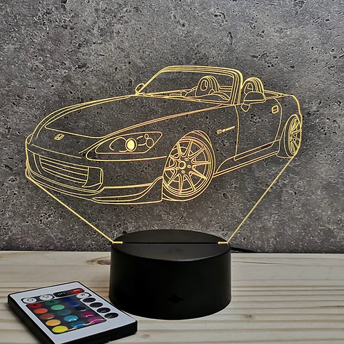 Lampe illusion 3D Honda S2000 personnalisable 16 couleurs & télécommande