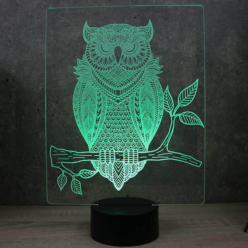 Lampe illusion 3d led Hibou Chouette