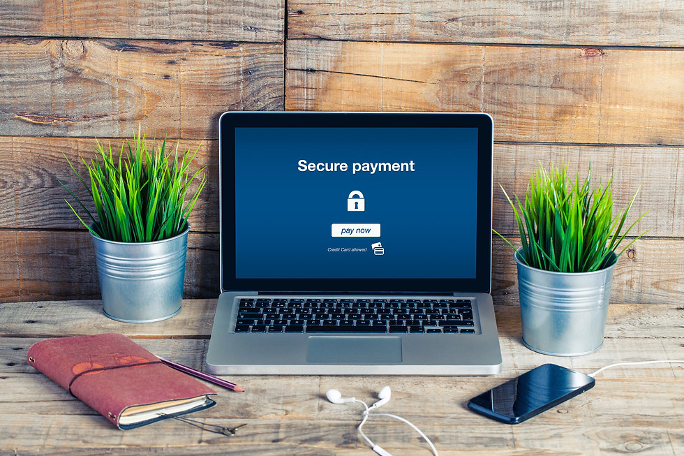 Secure payment message in a laptop scree