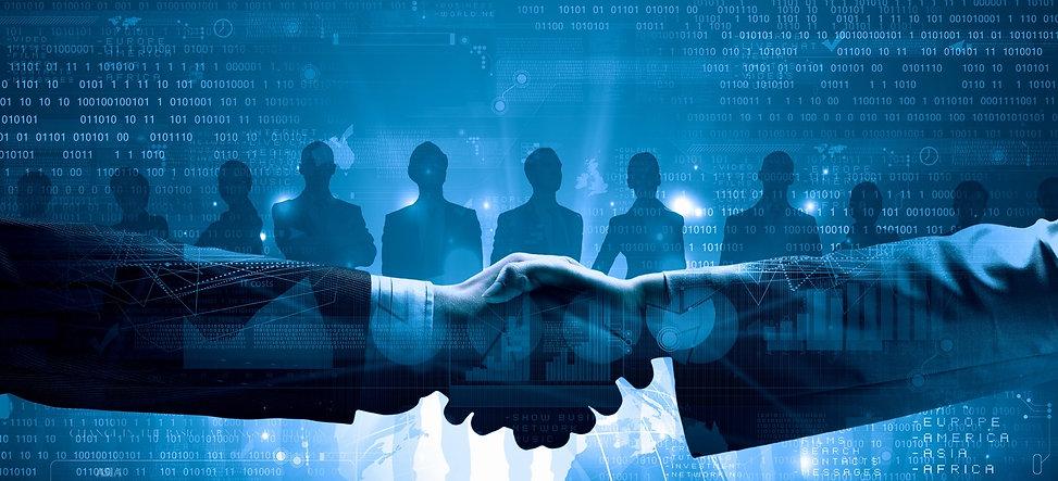 Close up of business handshake on digita