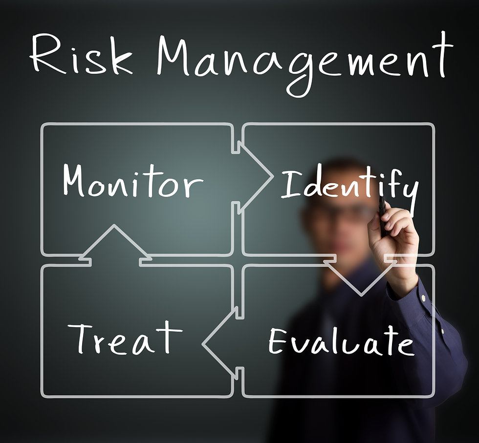 business man writing concept of risk man