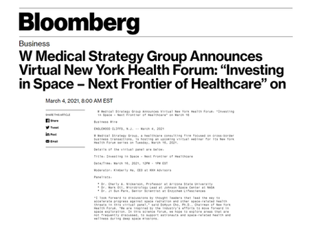 """Virtual New York Health Forum: """"Investing in Space – Next Frontier of Healthcare"""""""
