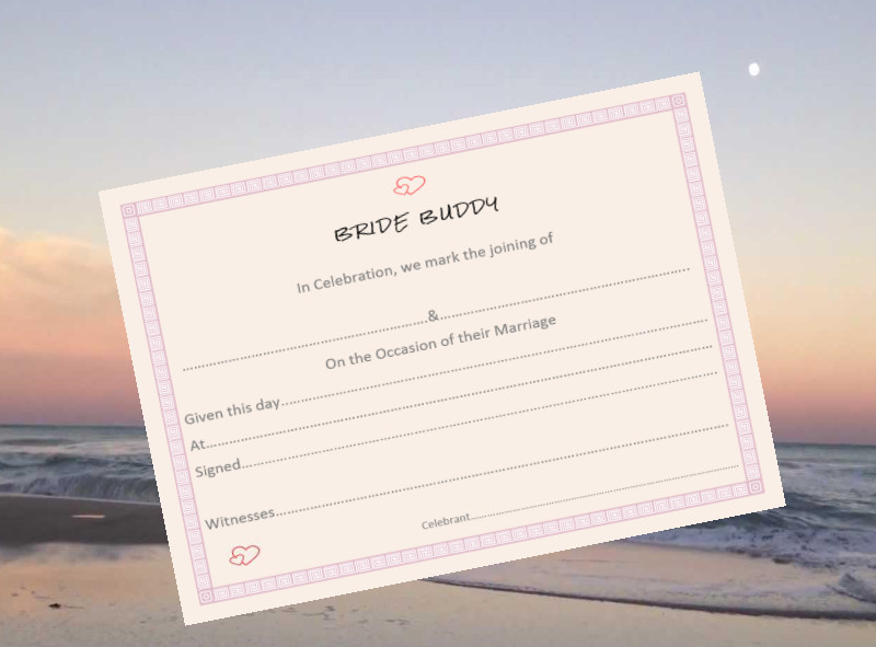 Bride Buddy Marriage Certificate