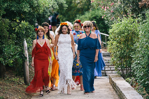 Bridal party getting married in Greece