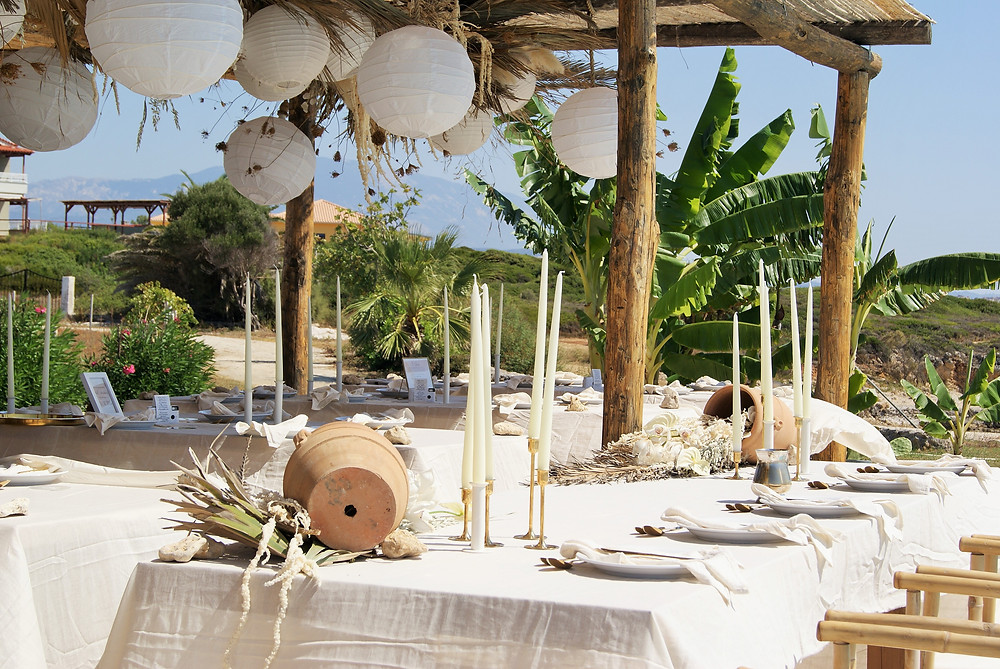 outdoor beach wedding reception