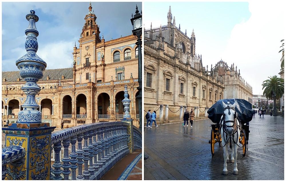 Plaza de España en de kathedraal van Sevilla
