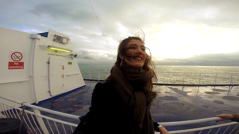 Op de boot naar Engeland.