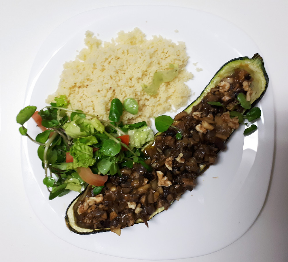 couscous and filled zucchini