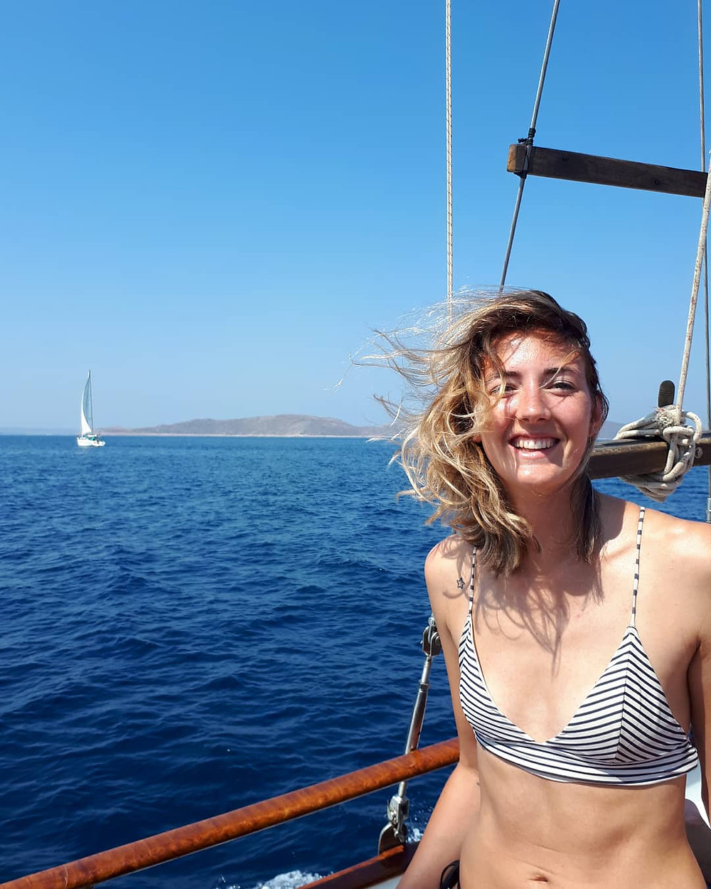 Relaxing boattrip on the Aegean Sea