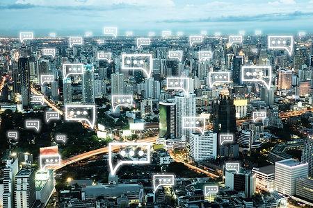 city of building connected via social media