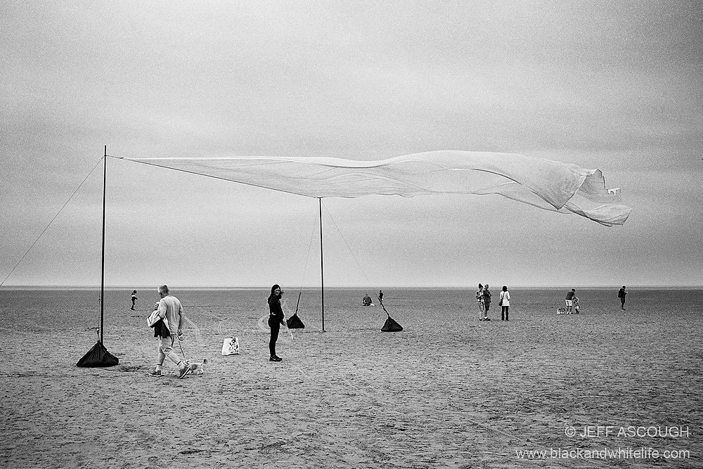 black-and-white image of a kite festival