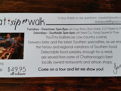 New Tuesday downtown Food Tour!  Tomorrow will be sunny in Chatt!