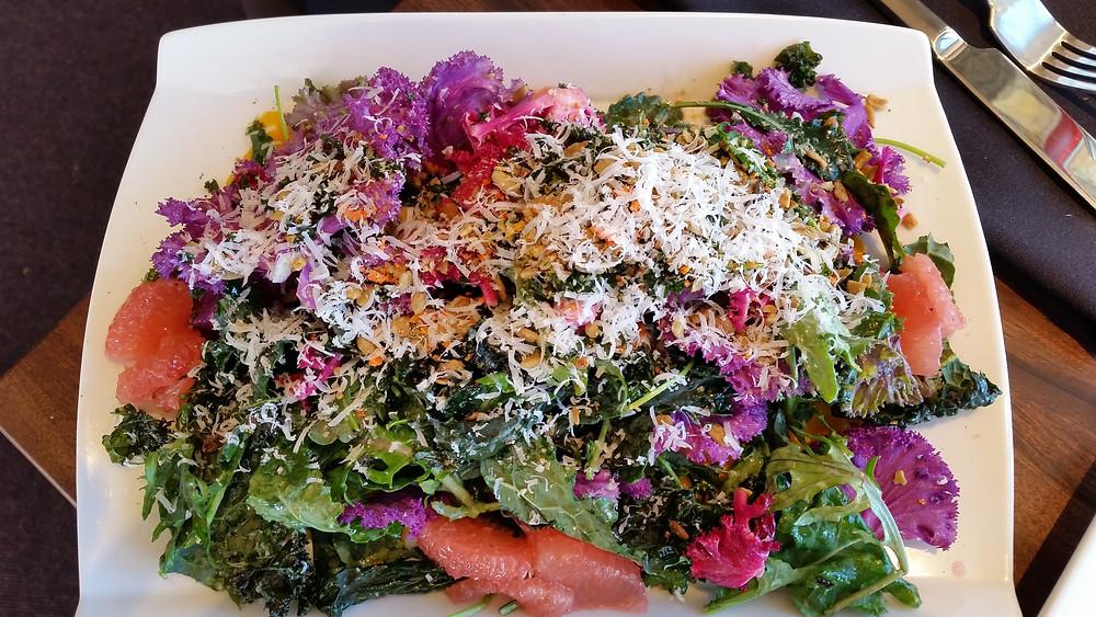 crispy kale grapefruit salad