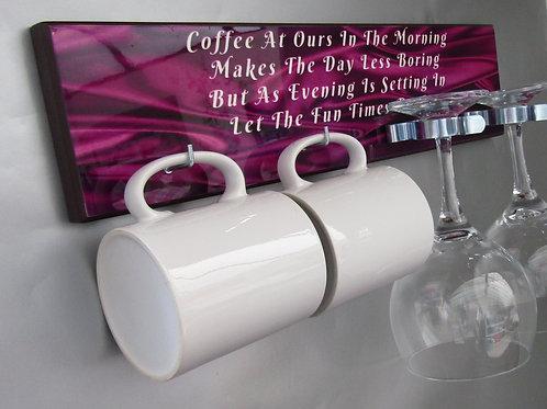 Mug & Gin Glass Holder Purple Silk