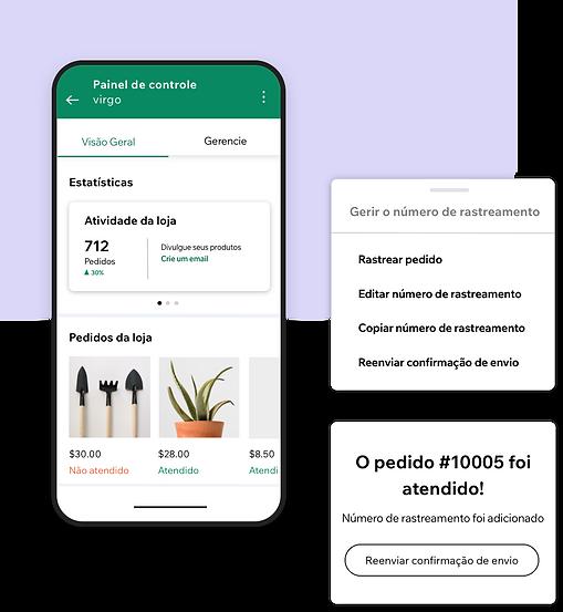 Gerenciamento de um négocio pelo app Wix Owner com um painel de controle de análises e números de rastreamento