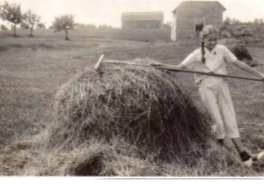 Mom on the farm as a girl