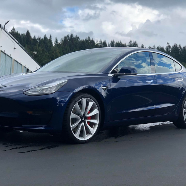 Blue Tesla with Ceramic Pro