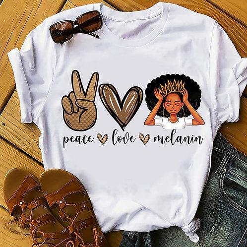 Women's Peace Love Melanin Tee | Black Girl Magic