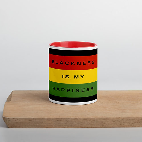 Mug with Color Inside (Red) - Blackness Is My Happiness