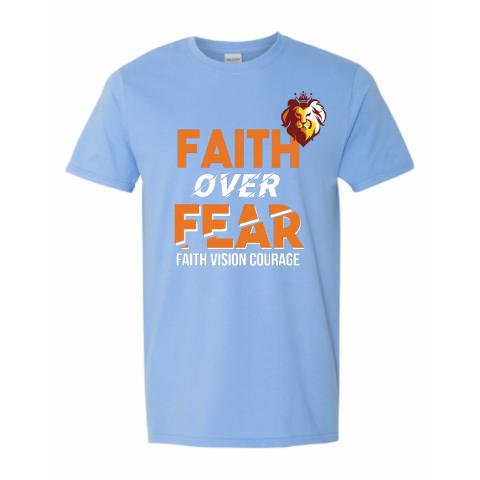 Faith Over Fear -Lion Heart Baby Blue
