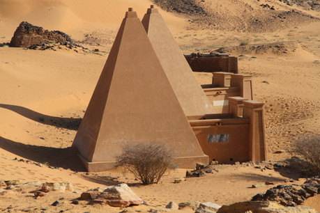 Two recently restored pyramids at Meroe give an idea of what todays weather worn structures may have looked like