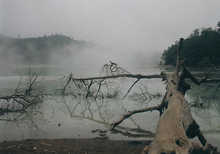An atmospheric scene, Telaga Warna Lake on the Deing Plateau, Java