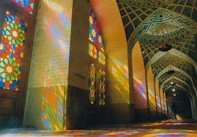 The stained glass windows of the Nasr-ol-Molk Mosque in Shiraz cast exquisite patterns