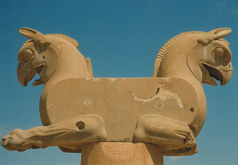 A double headed statue at the ancient Persian capital of Persepolis