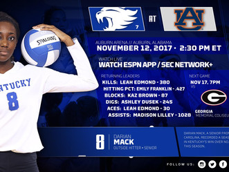 UK VOLLEYBALL TAKES ON AUBURN TODAY AT 2:30 PM EST