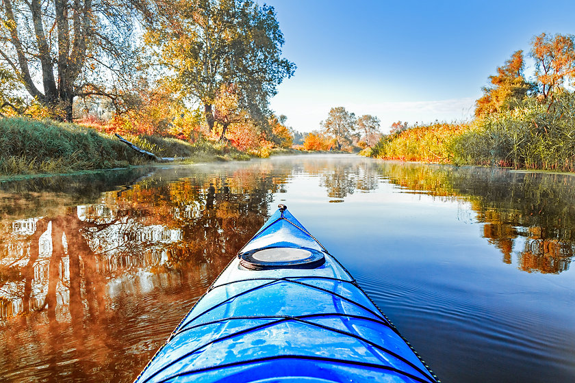 View from the blue kayak on the river ba