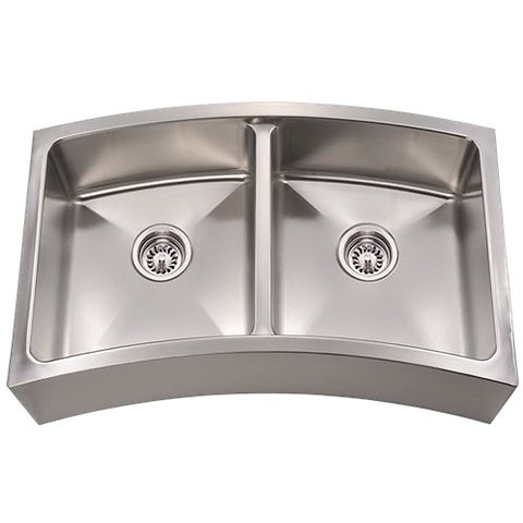 Curved Double Bowl Apron Stainless Steel Kitchen Sink