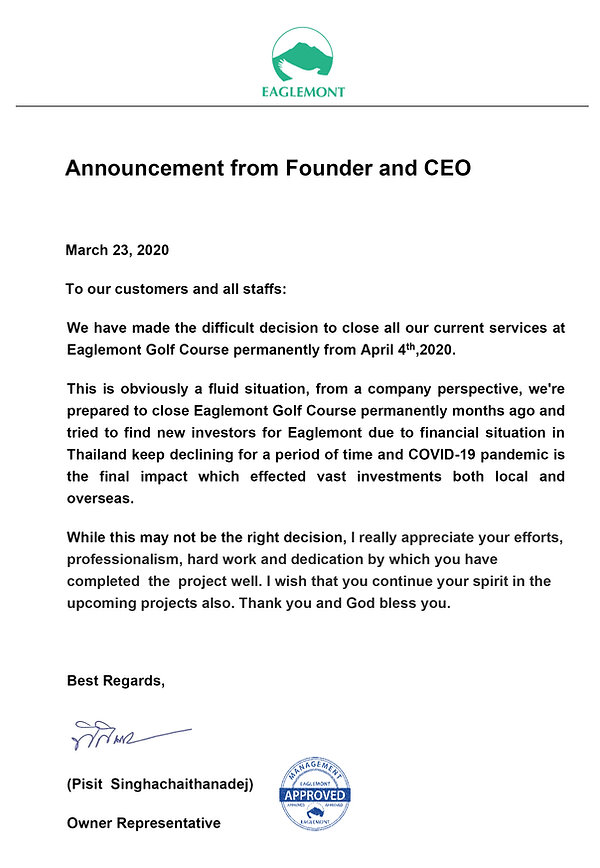 Announcement from Founder and CEO 24 Mar