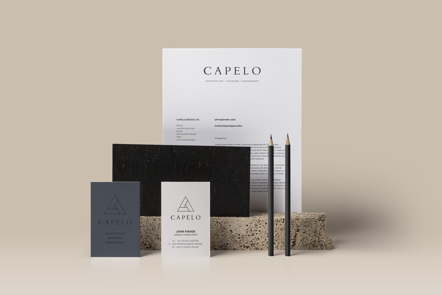 Capelo Design Ltd branded stationery suite