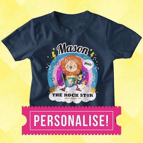 CUSTOM NAME Rock Star Kids T-shirt