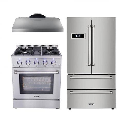 "Thor Kitchen 3-Piece 30"" Gas Range, 30"" Range Hood and 36"" Fridge"