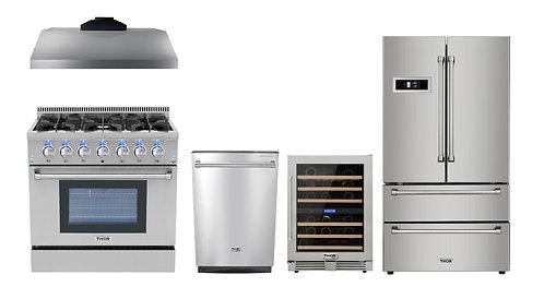 "36"" Gas Range Thor Kitchen 5 Piece Bundle, Natural Gas Range"