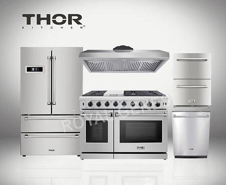 """Thor Kitchen 48"""" Gas Range 5-Piece Package"""