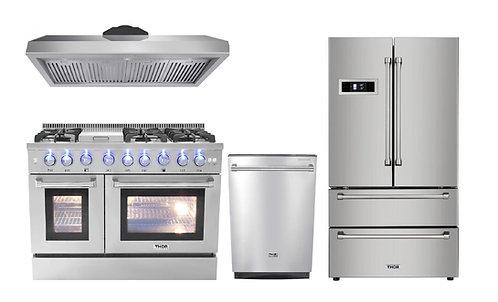 """Thor Kitchen 48"""" Gas Range 4-Piece Package"""