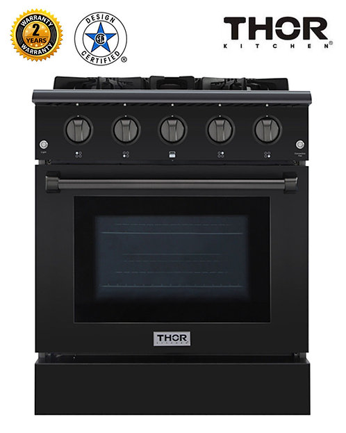 "Thor Kitchen 30"" Professional Gas Range, Black Stainless Steel, HRG3080-B"
