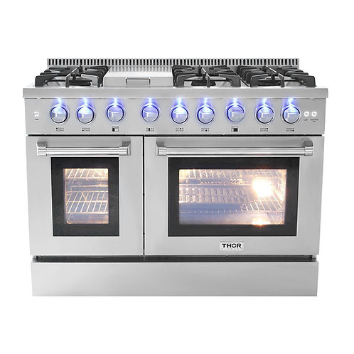 "Thor Kitchen 48"" 6 Burner Gas Range With Double Oven"