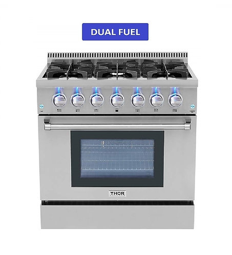 "Thor Kitchen 36"" 6 Burner Dual Fuel Range"