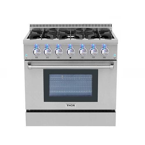 """Thor Kitchen 36"""" Pro-style 6-Burner Gas Range"""