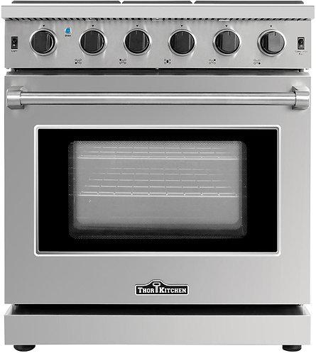 "30"" Stainless Steel Gas Range Oven With 5 Burner, Thor Kitchen LRG3001U"