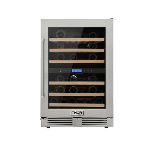 "TWC2401DO Thor 24"" 46-Bottles Indoor/Outdoor Independent Dual Zone Wine Cooler"