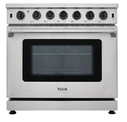 "Thor Kitchen 36"" Professional Gas Range, Stainless Steel LRG3601U"