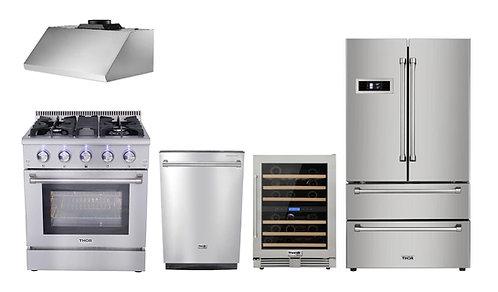 "30"" Gas Range Thor Kitchen 5 Piece Bundle, Natural Gas Range"