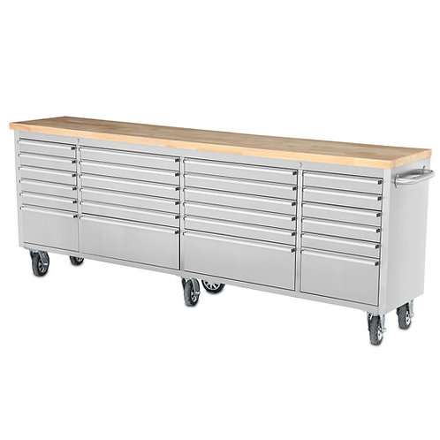 96 inch  24 Drawer Wide Stainless Steel Anti-Finge